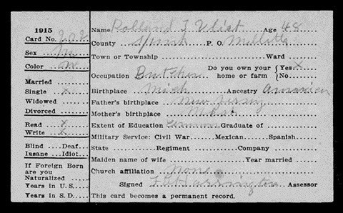 1915 South Dakota Census